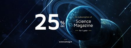 Plantilla de diseño de Science Magazine Offer with Planets in Space Facebook cover