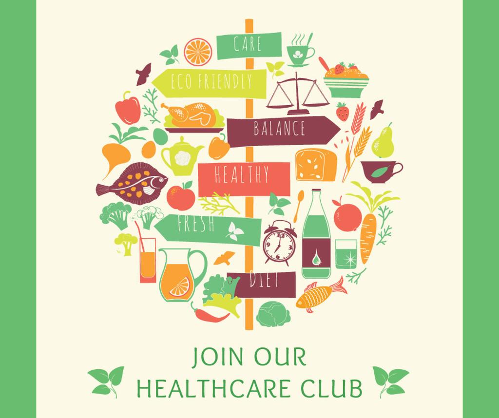 Healthy Lifestyle Attributes Icons | Facebook Post Template — Créer un visuel