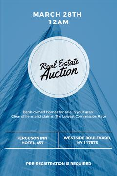 Real estate auction in blue