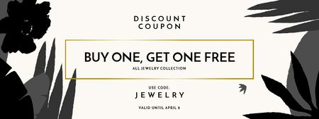 Plantilla de diseño de Jewelry Offer with Flowers Drawings Coupon