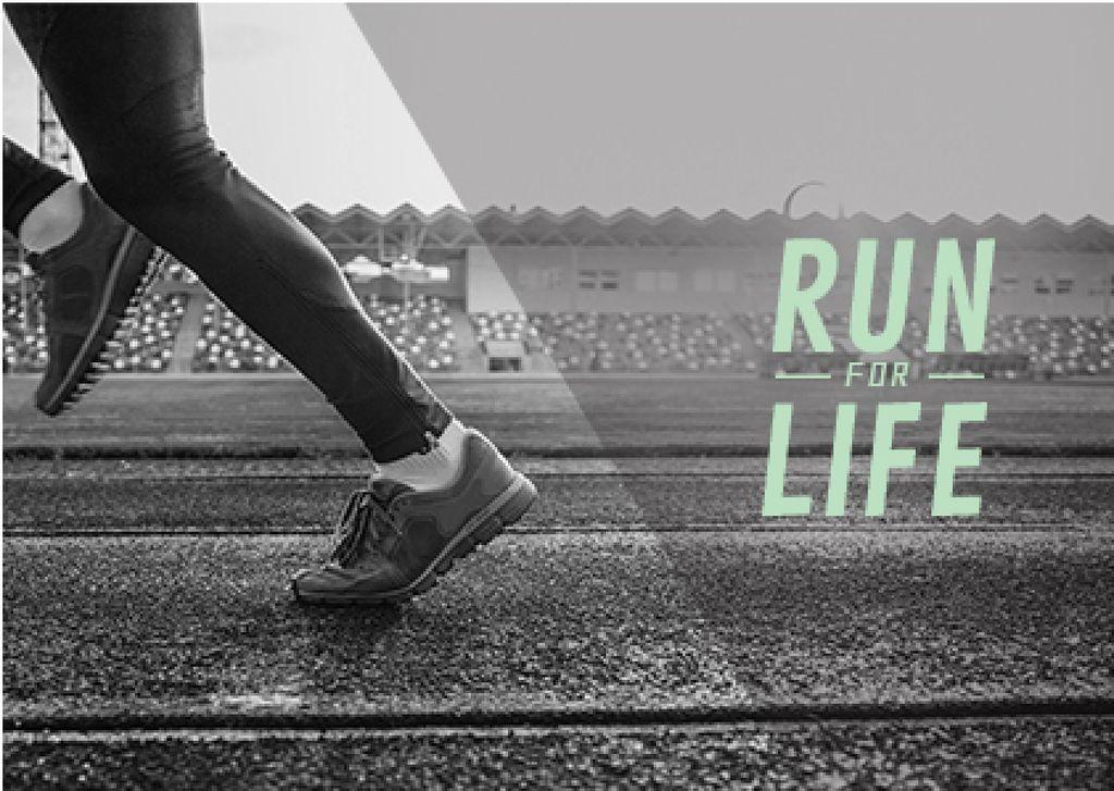 cropped image of man in sport shoes running on stadium — ein Design erstellen