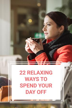 Woman with Tea in Cozy Atmosphere Pinterest Design Template