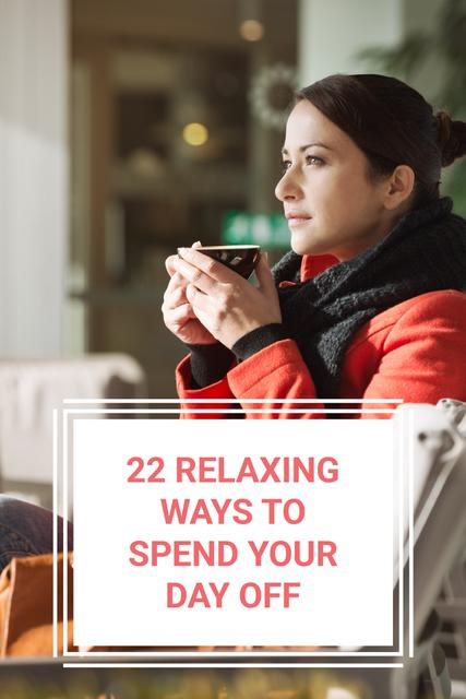 Template di design Woman with Tea in Cozy Atmosphere Pinterest