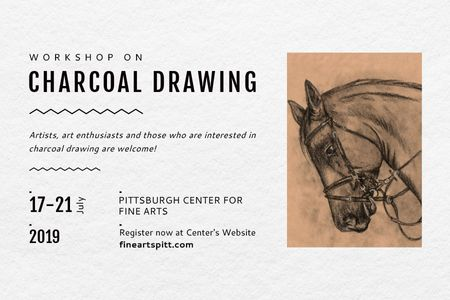 Charcoal Drawing Ad with Horse painting Gift Certificateデザインテンプレート