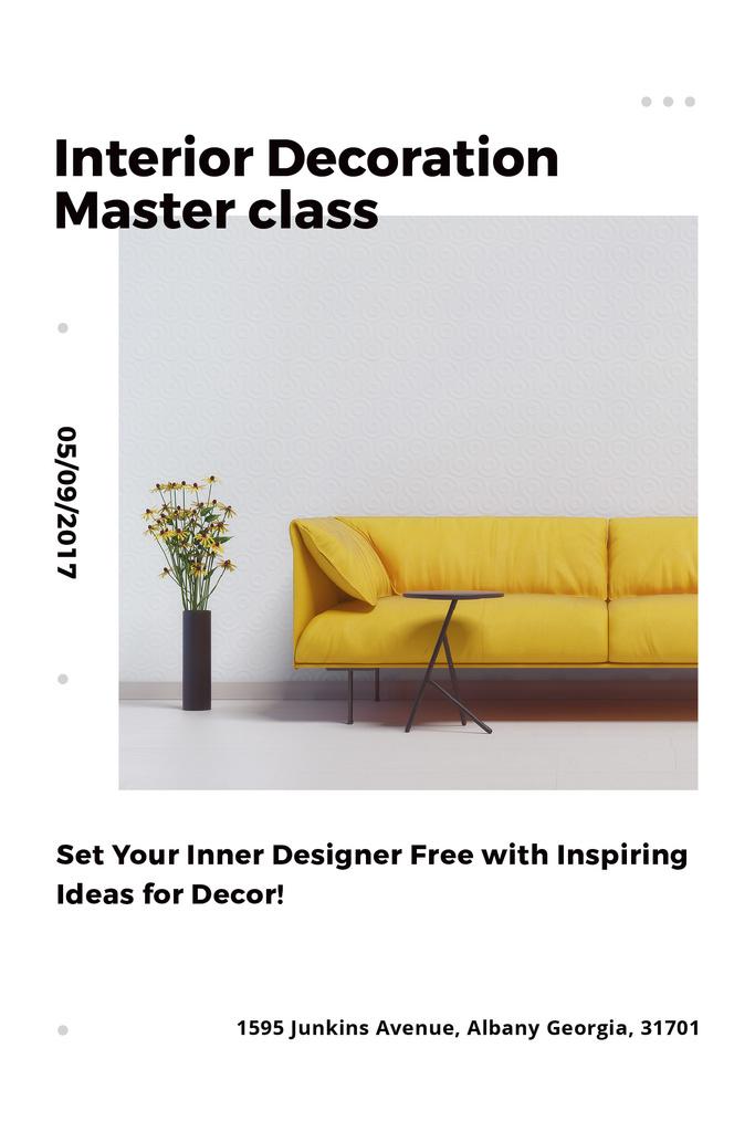 Interior Decoration Event Announcement Sofa in Yellow | Pinterest Template — Crear un diseño