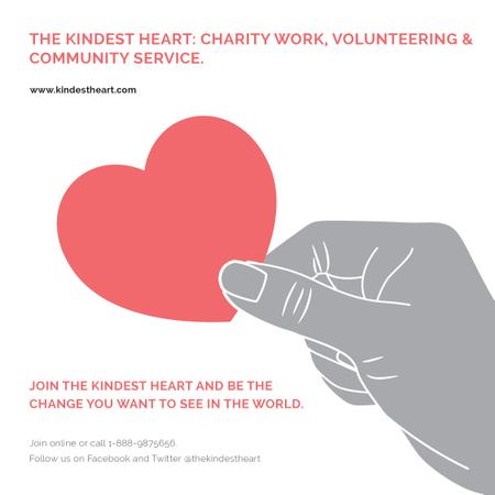 Designvorlage Charity Work with Hand holding Red Heart für Instagram