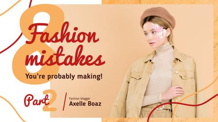Template di design Fashion Guide Girl in Autumn Outfit in Beige Youtube Thumbnail