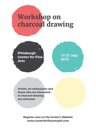 Plantilla de diseño de Charcoal Drawing Workshop colorful spots Poster US