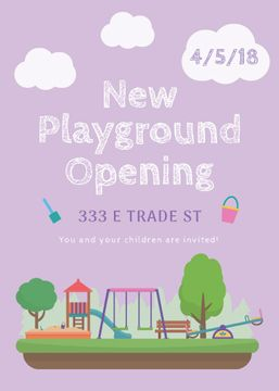 Kids Playground Opening Announcement in Purple | Flyer Template