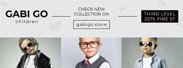Children clothing store with Stylish Kids Facebook cover Modelo de Design