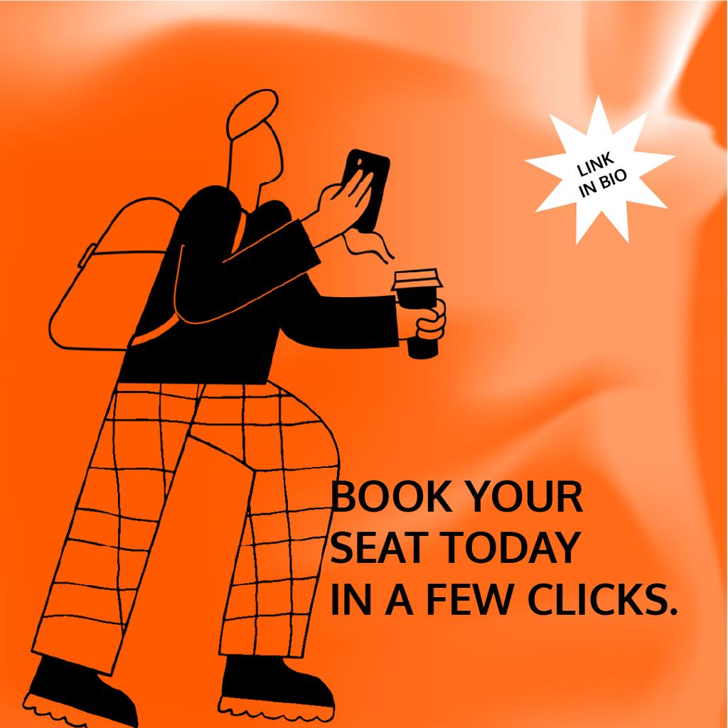 Booking Service ad with Man holding coffee and phone — Créer un visuel