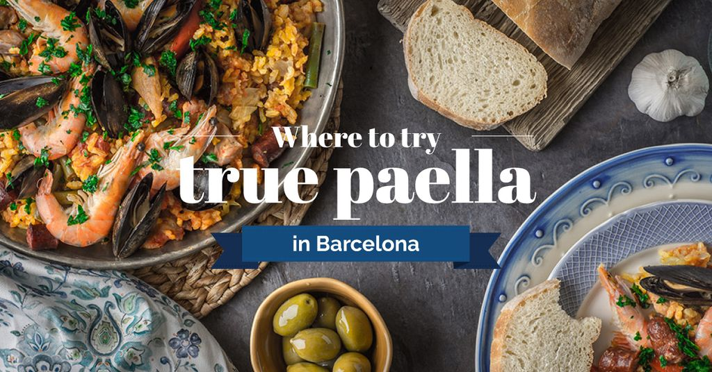 where to try true paella in Barcelona banner — Create a Design