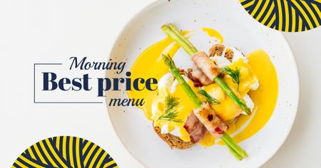 Eggs Benedict dish with asparagus Facebook AD Modelo de Design