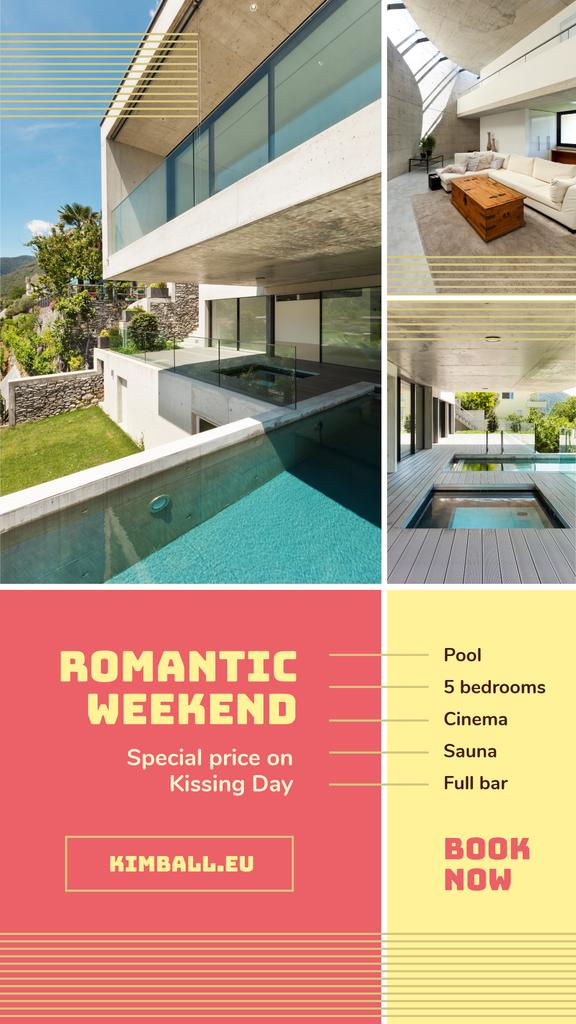 Real Estate Ad with Pool by House | Stories Template — Maak een ontwerp