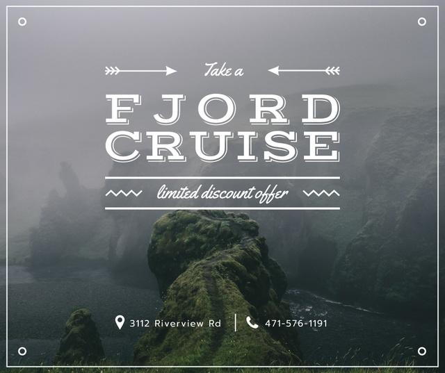 Ontwerpsjabloon van Facebook van Fjord Cruise Promotion Scenic Norway View