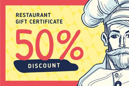 Template di design Restaurant Chef in White Toque Gift Certificate
