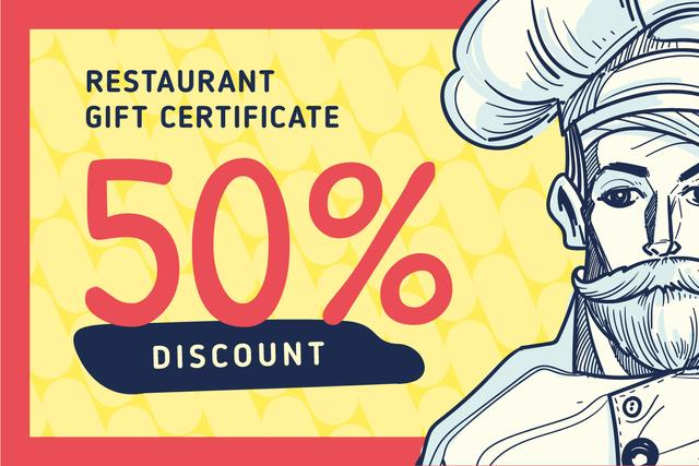 Modèle de visuel Restaurant Chef in White Toque - Gift Certificate