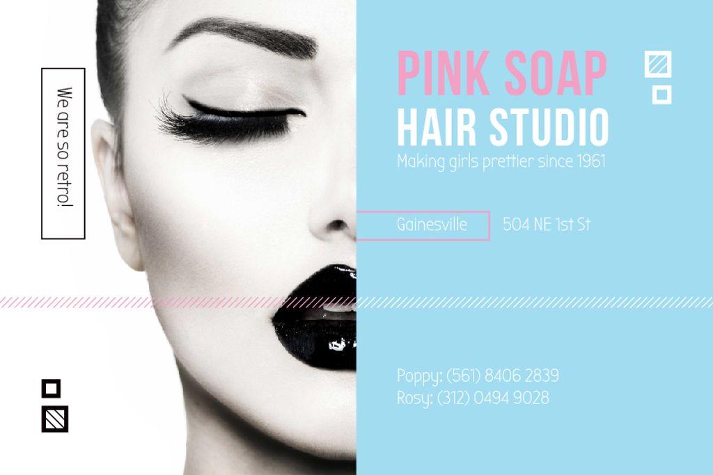 Hair Studio Ad with Woman with Black Makeup — Modelo de projeto