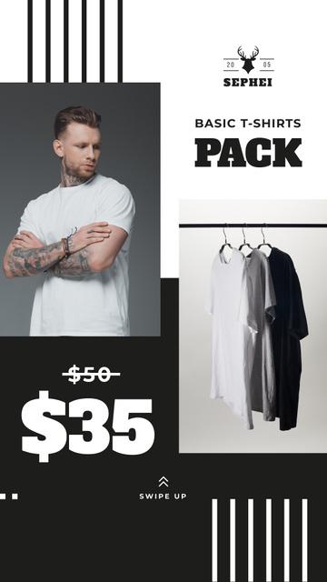 Ontwerpsjabloon van Instagram Story van Male Clothes Store Sale Basic T-shirts