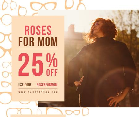 Plantilla de diseño de Mother's Day offer with confident Woman Facebook
