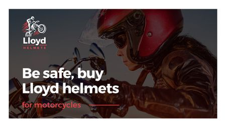 Bikers Helmets Promotion with Woman on Motorcycle Title Tasarım Şablonu