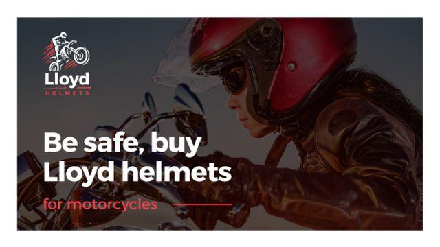 Bikers Helmets Promotion with Woman on Motorcycle Title Tasarım Şablonu