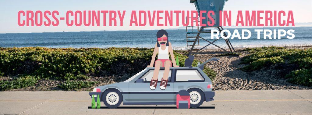 Girl sitting on car roof at the beach — Crear un diseño