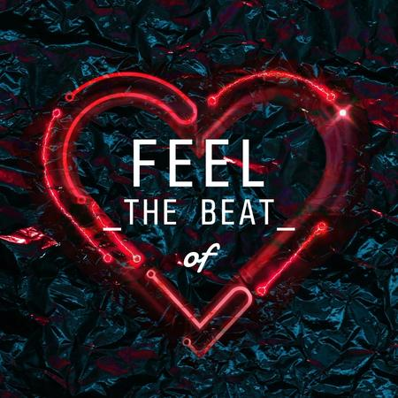 Plantilla de diseño de Beating Glowing red Heart  Animated Post