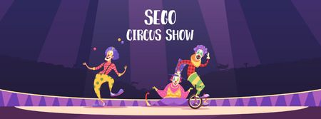 Plantilla de diseño de Circus Show Ad Clowns on Arena Facebook Video cover