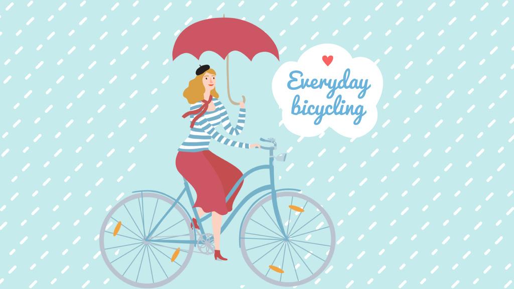 Woman Riding Bike with Umbrella Under Rain — Créer un visuel
