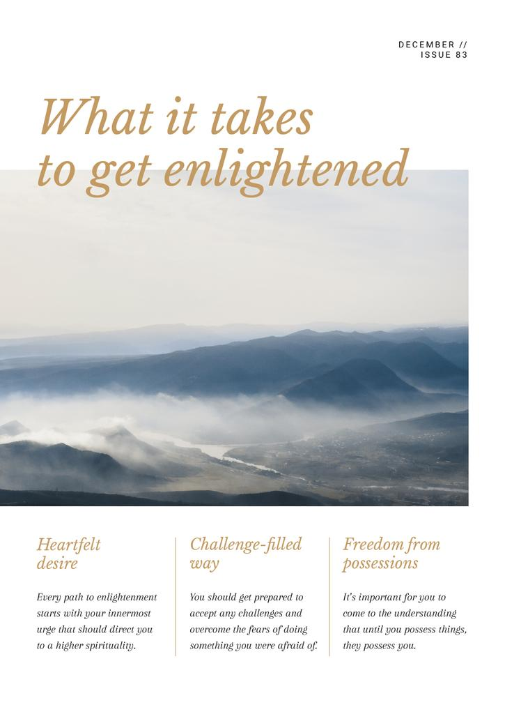 Meditation guide with scenic Mountains Newsletter Design Template
