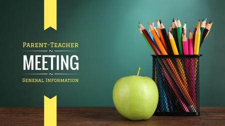 Plantilla de diseño de School Meeting Announcement with Colorful Pencils and Apple Youtube