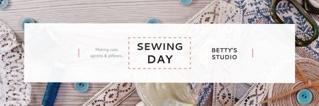 Designvorlage Sewing day event Announcement für Email header