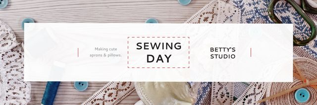 Sewing day event Announcement Email header Modelo de Design