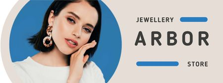 Designvorlage Jewelry Offer Woman in Stylish Earrings für Facebook cover
