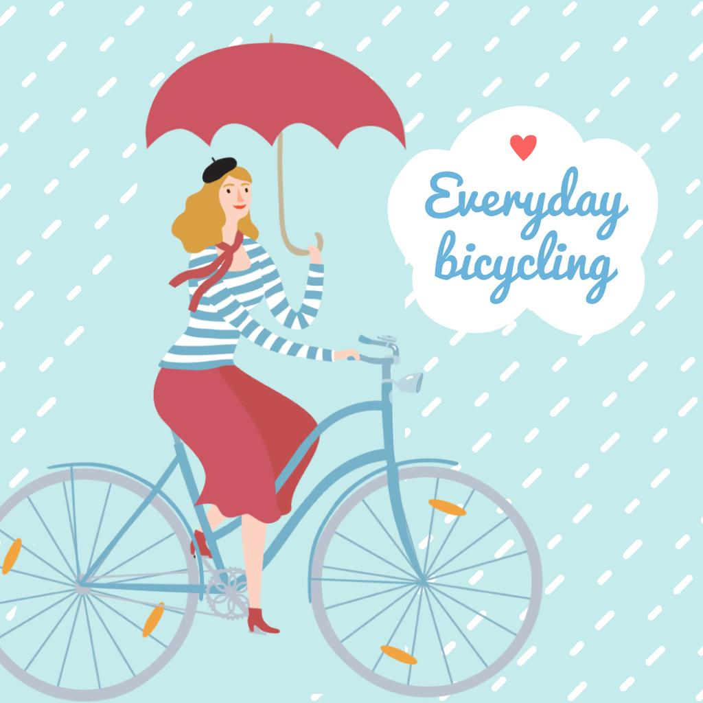 Woman Riding Bicycle With Umbrella —デザインを作成する