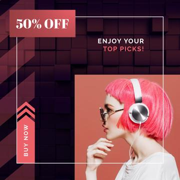 Electronics Offer Woman in Headphones on Pink