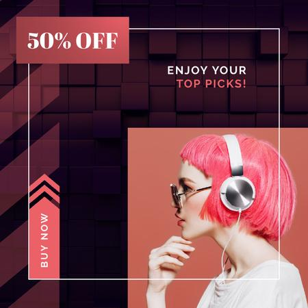 Plantilla de diseño de Electronics Offer Woman in Headphones on Pink Animated Post
