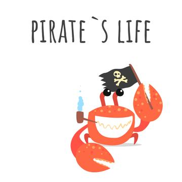 Funny crab with pirate flag