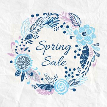 Spring Sale Advertisement Flowers Wreath in Blue