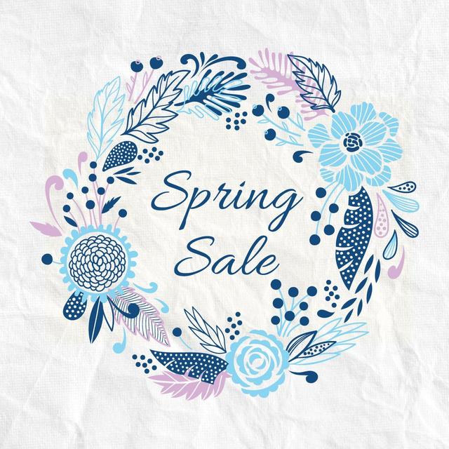 Spring Sale Advertisement Flowers Wreath in Blue Instagram Design Template