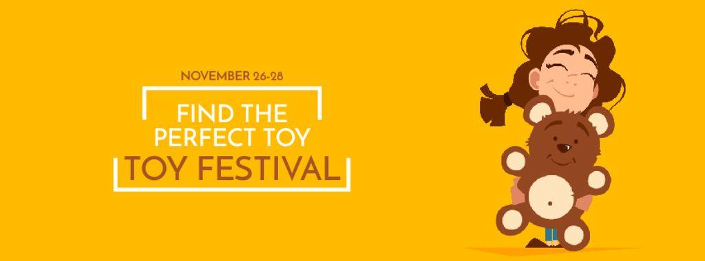 Girl Hugging Teddy Bear Facebook Video Cover in Yellow — ein Design erstellen