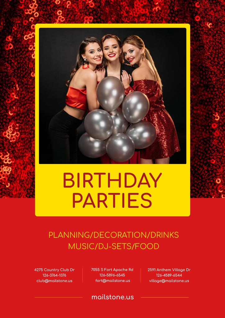 Birthday Party Organization Services Girls with Balloons — Створити дизайн