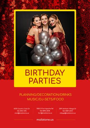 Birthday Party Organization Services Girls with Balloons Poster Design Template