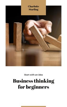 Business Ideas Man Stopping Falling Dominoes Book Cover – шаблон для дизайну