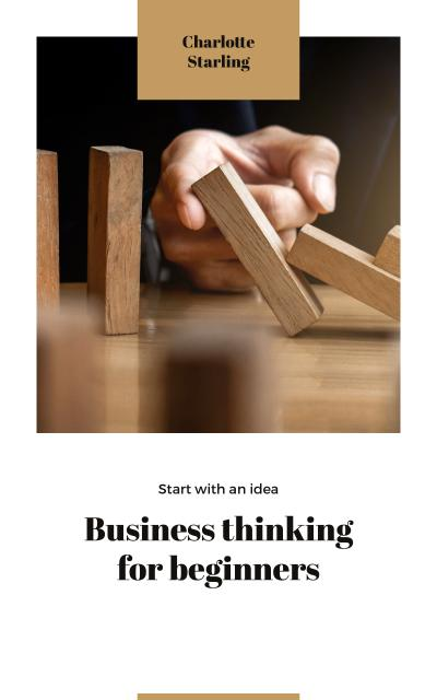 Business Ideas Man Stopping Falling Dominoes Book Cover – шаблон для дизайна