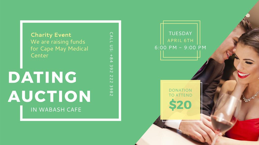 Plantilla de diseño de Smiling Woman at Dating Auction FB event cover