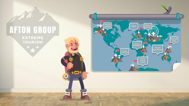 Ontwerpsjabloon van Full HD video van Experienced traveler presenting by map
