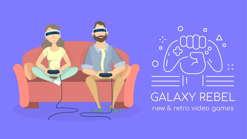 Video Games Ad Friends Playing Vr Game — Создать дизайн