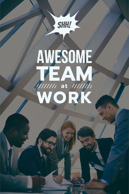 Business Team working in office Tumblr Design Template